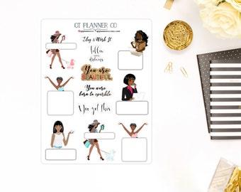 Sisters Slay and Werk It Planner Stickers, Decorative, Functional, Quotes - Erin Condren Life Planner, African American, Dark Skin Women