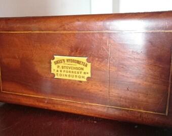 Antique Hydrometer Set in Mahogany Box