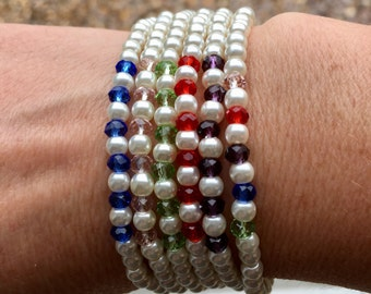 Pearl & crystal multi coloured bracelets stack gift present Christmas present