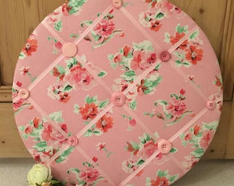 Memo Board with Rose & Pink Fabric and Button Embellishments