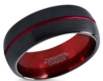 Tungsten Ring Mens Black Red Wedding Band Tungsten Ring Tungsten Carbide 8mm Brushed Man Wedding Male Women Anniversary Matching