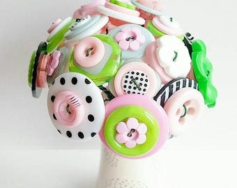Button Bouquet - pink, black, white, lime green, grey and polka dots!