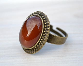 Red agate cabochon ring, Agate copper ring, Agate ring, Red agate ring, Ring with red agate, Copper agate ring, Oval cabochon red agate ring