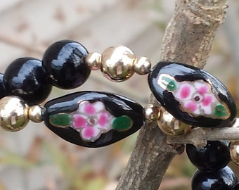 Black Onyx Floral Bead necklace
