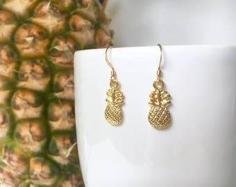 Gold Pineapple Earrings, 14K Gold Filled, Gold Vermeil