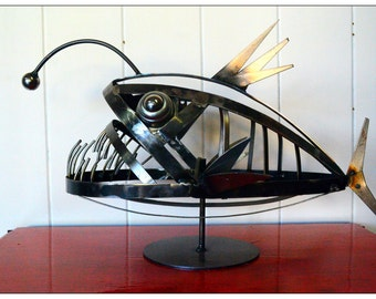 Angler Fish Steel Sculpture, 3D Sculpture, Metal Sculpture