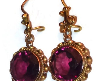Vintage amethyst earrings, large perfect faceted round purple amethysts, fabulous clarity and colour, oriental style 14k gold earrings