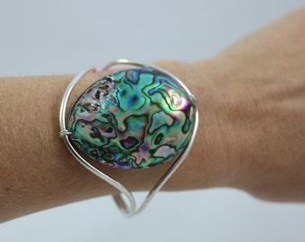 Abalone Shell Sterling Silver 925 Cuff Bracelet