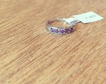 Sterling silver Baby ring with Ruby CZ or Amethyst CZ