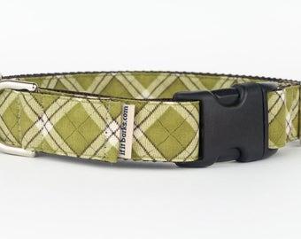 Green Plaid Martingale Dog Collar