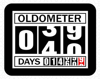 Oldometer Decal Design 40, SVG, DXF, EPS Vector files for use with Cricut or Silhouette Vinyl Cutting Machines