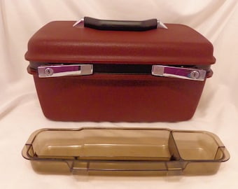 Vintage SAMSONITE CONCORD Burgundy Hard-Sided Train Case Luggage Carry-On Cosmetic Case Collectible Home Decor Retro Classic Vintage 1992