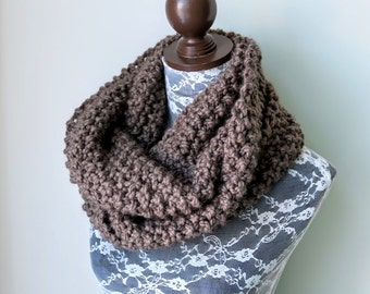 Knitted Knit Large Cowl, Infinity Scarf, Circle Scarf. Handmade in Taupe Chunky Wool Yarn