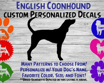 English Coonhound Dog Personalized Silhouette Vinyl Decal Dog Breed Decal-Car Window Decal-Pet Gift-Custom Personalized Pet Decal