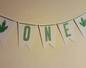 Dinosaur party ONE high chair banner - bunting - first birthday - dinosaur - dino - 1st birthday - party decor - high chair - one - banner