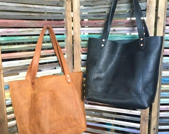 KAMMY TOTE - Leather Tote - Brown Leather Tote - Black Leather Tote - Every Day Carry - EDC - Leather Tote Bag - Tote Bag
