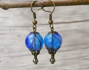 Balloon Earrings Bead Dangle Earrings Blue bead Earrings Hot Air Balloon Earrings Drop Earrings  Statement Earrings Boho Earrings ED-003