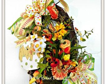 Easter Wreath - Easter Decor - Easter Egg Wreath - Easter Egg - Whimsical Easter Wreath - Easter Gift - Easter Front Door - Spring Wreath