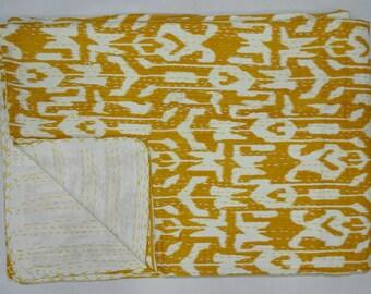 New Indian Kantha Quilt Twin Size Bedsheet Cotton Handmade Ikat Design Bedspread Throw Yellow Bedcover