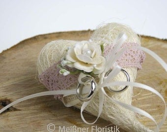 "Ring pillow sisal heart ""vintage pink"""