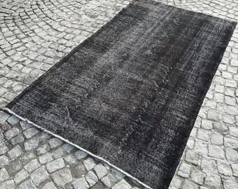 Vintage BLACK Rug - MUTED Rug - Handmade Black Carpet - Distressed Rug - Black Overdyed Rug - Anatolian Rug - Turkish Rug - Black OUSHAK Rug