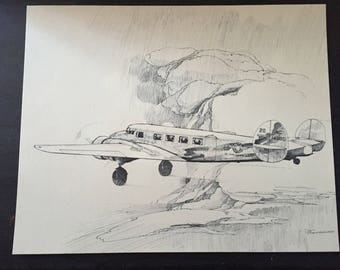 Vintage Plane Sketch; Delta Airlines 50th Anniversary Airplane Print; Lockheed Electra; Airline Anniversary Gift