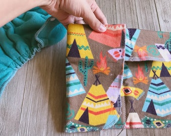 Teepee and Southwestern Flannel and Zorb Newborn Cloth Diaper Insert