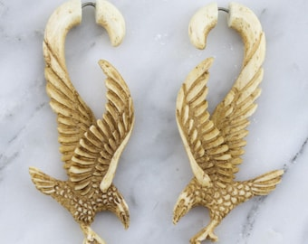 Eagle Hook Stained Bone Hangers / Fake Gauge Earrings