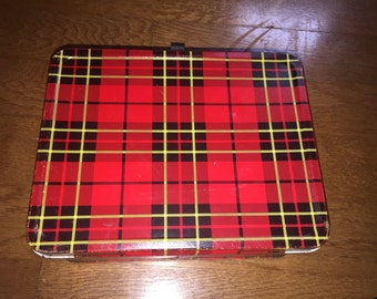 Vintage Plaid Metal Lunch Box King Seeley 1973