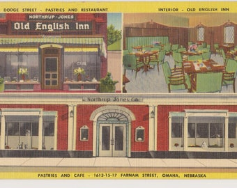 Vintage Linen Postcard, Northrup-Jones, Old English Inn, Omaha, Nebraska, Ephemera, Souvenir Postcard,  Unused
