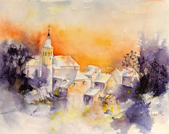 Original watercolour painting of a sunrise over a village- original painting - the sun rises over the houses in France