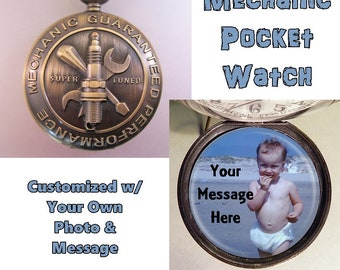 Mechanic Pocket Watch Personalized w/Photo & Message Mechanic Gift Vintage Style