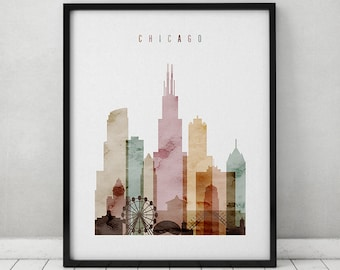 Chicago watercolor skyline print, watercolor poster, Wall art, Illinois  cityscape poster typography art digital watercolor ArtPrintsVicky.