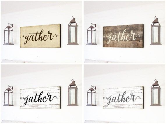 Wall Decor Gather : Gather sign gift for her wall art rustic home decor shiplap