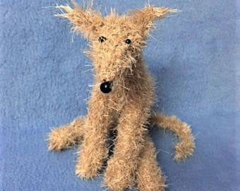 Lurcher Fluffy Scruffy Hand Knitted Sighthound Fawn Dog Gift Hound Day Free UK Postage
