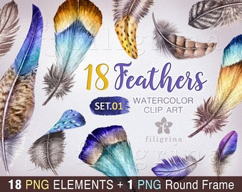 Feather WATERCOLOR Clip Art. Delicate feathers, natural, rustic, blue, yellow. Easter decor. 18 PNG elements + round frame! Read about usage