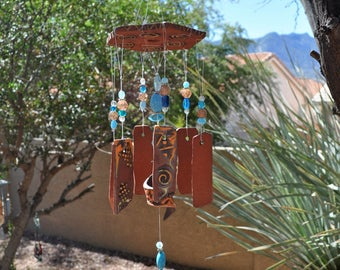 Handmade Ceramic Wind Chime - Primitive - Southwest - Red & Turquoise