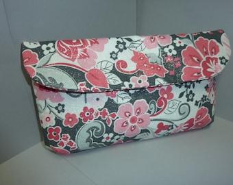 Pink & Silver Floral Clutch