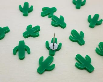 12mm Green Cactus Laser Cut Acrylic Cabochons - 10 Pcs