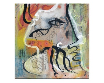 Original-portrait abstract 15/15 cm (5.9/5.9 inch) colourful painting drawing