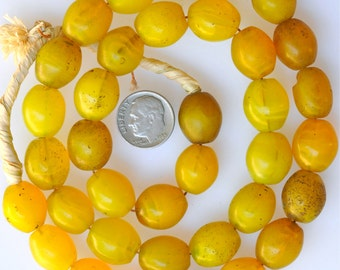 Old Yellow Bohemian Glass Egg Beads - Vintage African Trade Beads - 25 Inch Strand