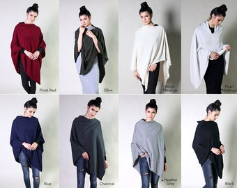 Women's Organic Cotton 5-Way Knitted Poncho Top, Cape, Sweater, Cardigan, Dress Topper - Soft, Lightweight, Eco-Friendly (8 Solid Colors)