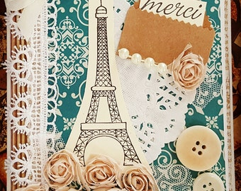 Merci Cards Handmade Thank You Cards Thank You Notes Victorian Cards Paris Cards Paris Greeting Card Eiffel Tower Greeting Card