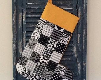 Christmas Stocking (Funky Black and White) - Patchwork Christmas Stocking - Quilted Stocking - Black and White - Stocking
