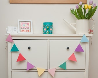 Colourful Rainbow Pastel and Brights Bunting / garland / banner