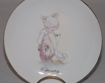 Precious Moments Plate, February Collector's Plate, 1980's