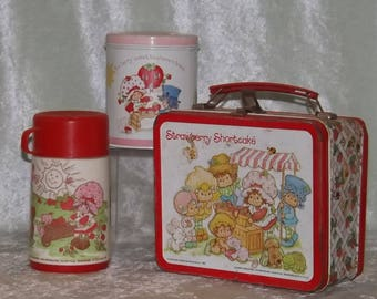 Strawberry Shortcake, Strawberry Shortcake Metal Lunchbox and Thermos, Strawberry Shortcake Tin, 1981, Vintage Strawberry Shortcake