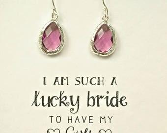 Set of 3 Earrings for Bridesmaid Purple Amethyst Earrings, Purple Earrings for Bridesmaids, Gifts for Bridesmaids, Bridesmaid gift, ES3