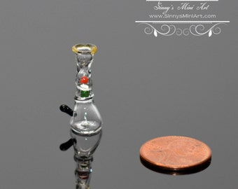 1:12 Dollhouse Miniature Colorful Glass Smoking Pipe/ Miniature Bong BD HB454