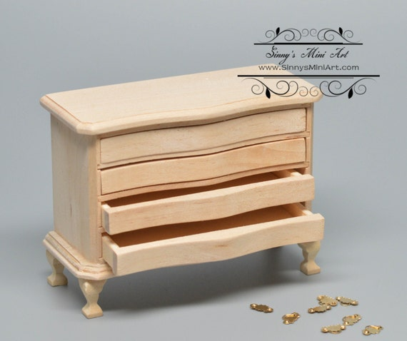1:12 Dollhouse Miniature 4-Drawer Unpainted Chest/ Unfinished